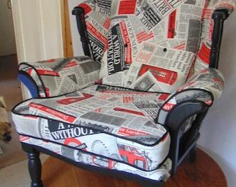 One off. JC & MF Smith newspaper print arm chair.