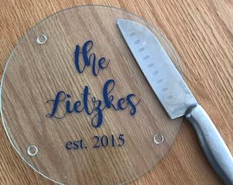 Personalized glass cutting board