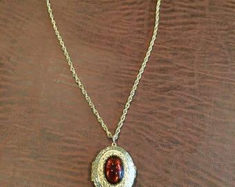 Ruby Locket Necklace Vintage