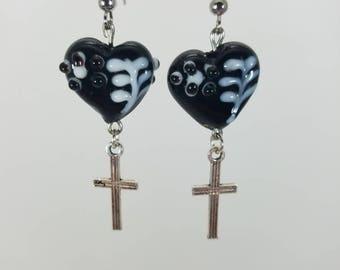 Black and white heart, and cross dangle earrings