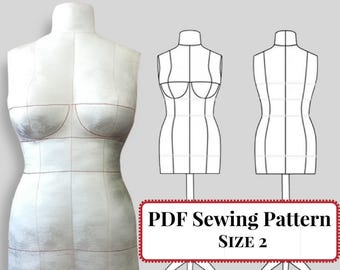 PDF Sewing Pattern - DIY Dress Form Mannequin. Plus Complete Step-by-Step Sewing Photo-Guide. Sizes 2 (Bra Cups A,B,C)