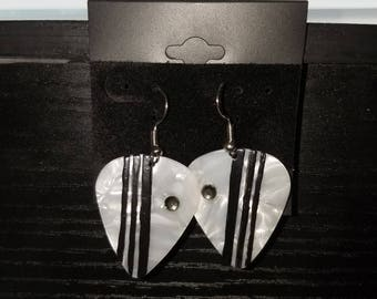 Hand painted guitar pick earrings