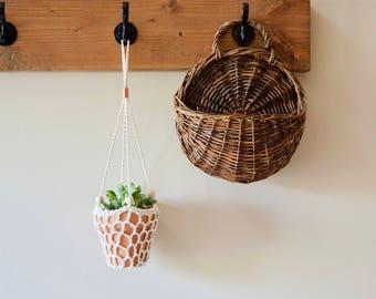 Handmade Crochet Hanging Planter with Terra Cotta Pot || Cotton, Copper, Wood Hanger
