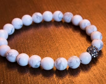 Howlite Mala Style Bracelet with micro pave accent