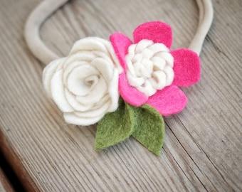 felt flower nylon headband or clip