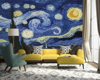 3D Van Goghu0027s The Starry Night 221 Wallpaper Mural Wall Print Decal Wall  Deco Indoor Wall Part 98