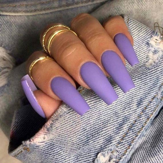 20 Pieces Lavender Press On Coffin Nails