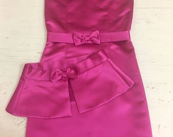 Fuchsia interview dress Pageant dress pink dress with peplum and belt Girls dress Pageant outfit Light pink interview peplum dress for inte