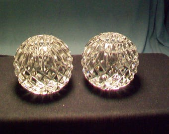 Two Waterford Crystal Candle Holders Signed Fred Curtis