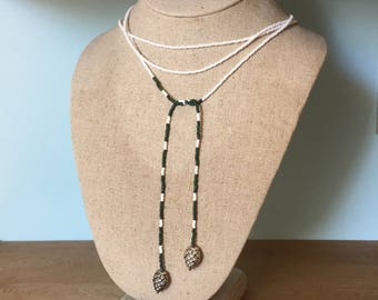 Lariat Seed Bead Necklace White, Green & Silver