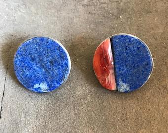 Vintage Mexican Jewelry, Consuelo Campos, Southwest Jewelry, Lapis Earrings, Stud Earrings, Native American Earrings, Contemporary Earrings