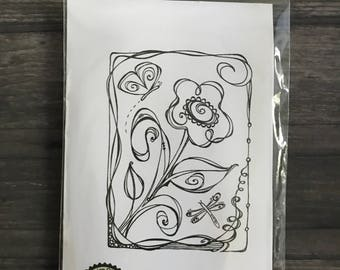 Impression Obsession Whimsical Floral Stamp