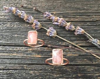 Faceted Rose Quartz & Copper Ring