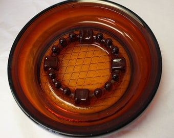 Vintage Amber Glass Ash Tray, 1950's