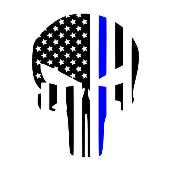 punisher skull blue lives matter back the blue vinyl decal