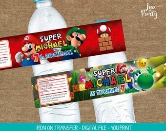 Super Mario water labels print yourself, Super Mario water bottle labels, Super Mario party water bottle labels