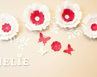 Large White Paper flowers. Large red paper flowers nursery wall. Nursery red flowers decor. Wedding flowers wall. Red flowers wall.