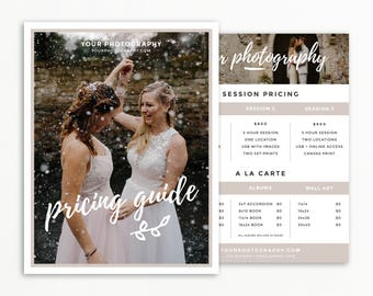 Photography Pricing Template, Wedding Photography Price List, Photographer Price Guide, Pricing Package for Photoshop, Instant Download