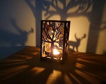 Beautiful Laser cut tea light forest holder, gifts, home decor, cosy, christmas,birthday,