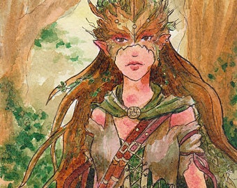 Forest Elf Watercolor Artwork