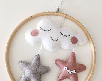 Cloud and Stars, Nursery Decor, Personalised Gift, wall hanging, star nursery, baby shower, christening, felt cloud, personalised