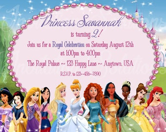 Princess Party Invitation/ Disney Princesses Birthday Party invitation