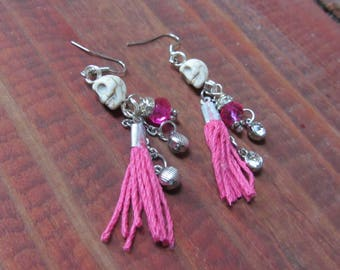 Dangling Pink and Silver Skull Charmed Earrings with Crystal