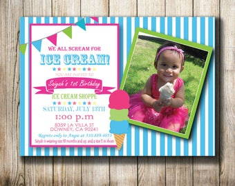 Ice Cream Party - Digital Invitation