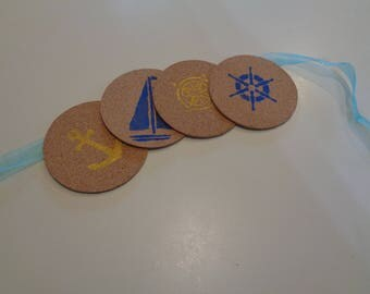 Nautical Cork Coasters set of 4