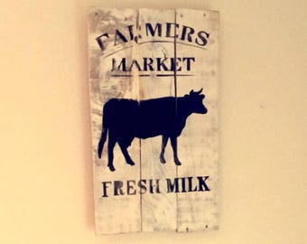 Farmers market rustic wooden sign