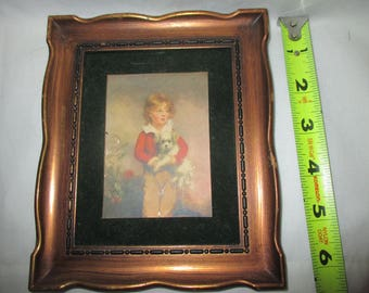 Antique VELVET Picture VICTORIAN BOY Fancy Clothes Great Frame! Mint Gorgeous Home Decor