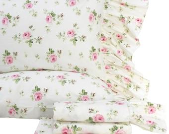 Bedding 4-Piece Cotton Rose Floral Bed Sheet Sets