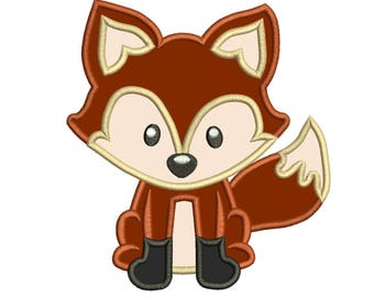 Fox Applique Design 3 sizes for Instant Download