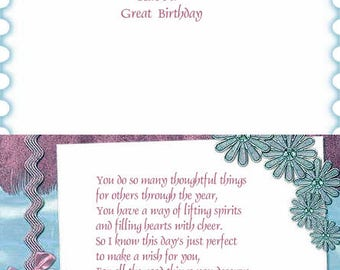 Assorted Landscape Bordered designs Birthday card inserts with verse