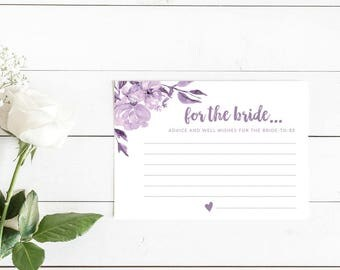 Purple Floral Advice and Well Wishes for the Bride Cards