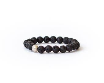 Lava stone diffuser bracelet | Women's lava stretch bracelet | aromatherapy jewelry | Sterling Silver Bead | grounding, protection, balance