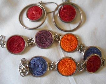 Sterling Silver Basket Weave Bracelet & Earrings