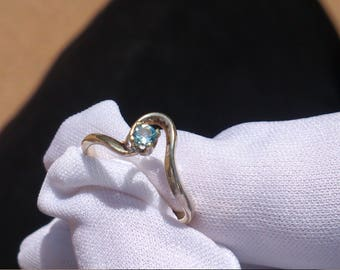 3mm sky blue topaz sterling silver ring