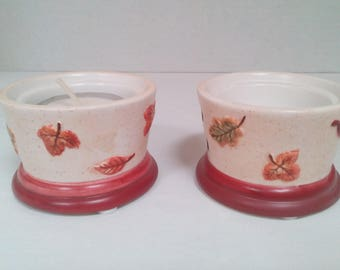 Vintage Set of 2 Tealight tealite Candle Holder Autumn Design Fall Candle Holder Maple Leaf by Kathy Sulewski