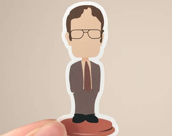 Dwight Schrute Bobblehead | The Office Sticker | Matte or Glossy Finish