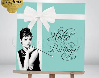 "Backdrop Audrey Hepburn Breakfast at Tiffany's Backdrop, table backdrop, Audrey Hepburn, darlings Photo Booth 48x48"" {Blue/White Ribbon}"