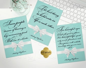 The best thing to hold is each other, Audrey Hepburn quotes, printable breakfast at tiffany's bridal gifts,,favors, keepsake, 5x7 Set OF 3