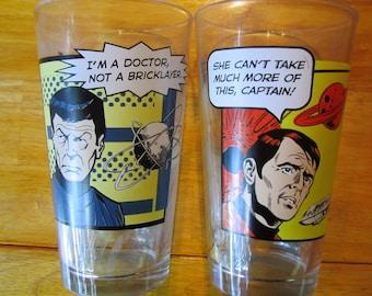 2 Star Trek cartoon glasses featuring Bones and Scotty