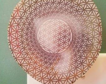 Flower of Life Engraved Agate nightlight/Sacred Geometry