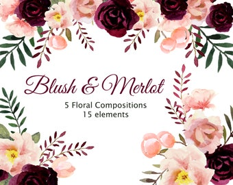 Blush and Merlot Floral Watercolor Collection, Burgundy and Blush Wedding Florals, Includes: 15 Individual Elements and 5 Floral Composition