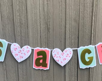 Mint and peach baby shower banner