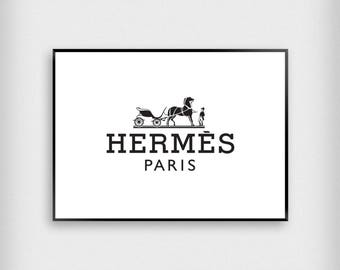 Hermes Paris - Digital Download Print - Printable - Monochrome - Black and White