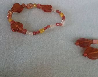 Fall leaves beaded set