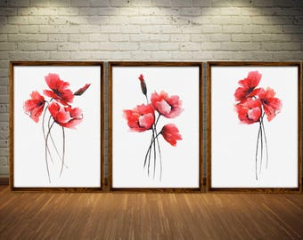 Poppy Art Print Poppy Painting Set 3 Red Poppy Watercolor Illustration Poppy Flower Abstract Minimalist Art Bedroom Wall Decor