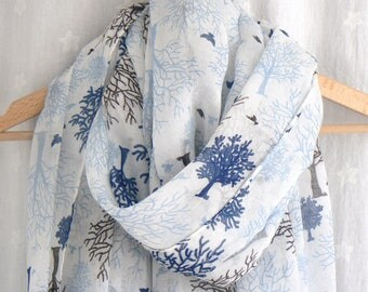 Blue and White Tree Woods Woodland Print Scarf Wrap Shawl